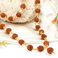 Rudraksha mala - 10mm in gold polished copper caps