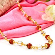 Sphatik and Rudraksha Mala in copper gold polish