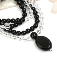 Black Agate and Sphatik beads Mala