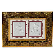 Ganesh Laxmi in silver with frame - I