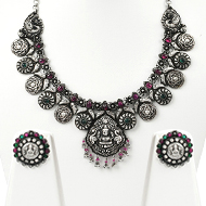 Lakshmi Necklace and Earrings set in pure silver