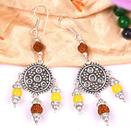 Rudraksha Yellow Jade Earrings