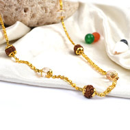 Rudraksha and Crystal Beads in pure gold - 7mm
