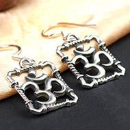 OM earrings in pure silver - Design I