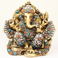 Brass Lord Ganesha Idol with Stone Work - Design II