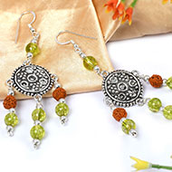 Peridot and Rudraksha Earring