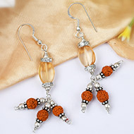 Yellow Topaz and Rudraksha Earring - I