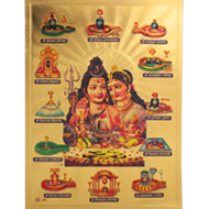Dwadash Jyotirlinga Photo in Golden Sheet - Large