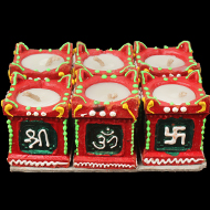 Shri - Om - Swastik - Trishul Earthen Lamp - Set of 6