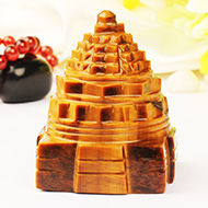 Shree Yantra in Tiger Eye Stone - 159 gms