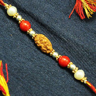 2 Mukhi Rakhi Pearl and Coral beads with Panchdhatu Chakri