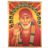Lord Sai Baba Photo in Golden Sheet - Large