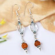 Blue Topaz and Rudraksha Earring