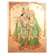 Radhe Krishna Photo in Golden Sheet - Large