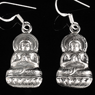 Buddha Earrings in Silver
