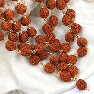 Rudraksha mala in gold polished copper - 10mm