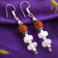 Rudraksha Moonstone  Earrings