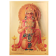 Hanuman Mudra Photo in Golden Sheet - Large