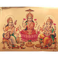 Ganesh Lakshmi Saraswati Photo in Golden Sheet - Large I