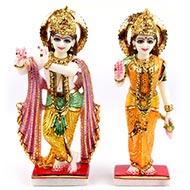 Radha Krishna marble idol - I