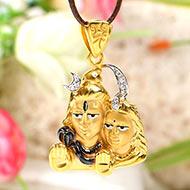 Shiva Parvati Locket in Pure Gold - 3.9 gms
