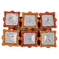 Square Design Earthen Diya - Set of 6