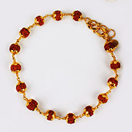 Rudraksha punchmukhi Bracelet with pure gold flower caps