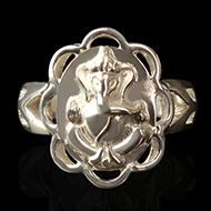 Ganesha Ring in Pure Silver - Design VIII