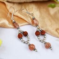 Rudraksha and Sunstone earring - I
