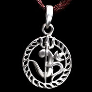 Om Locket with Trishul in Pure silver