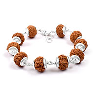 7 mukhi Mahalaxmi bracelet from Java with silver caps