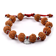 7 mukhi Mahalaxmi bracelet from Java with silver chakri in thread