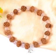 7 mukhi Mahalaxmi bracelet from Java with Rose Quartz beads