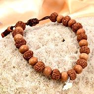 7 mukhi Mahalaxmi bracelet from Java with Sandalwood beads
