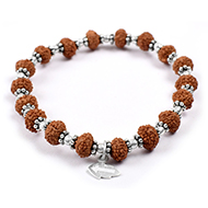 7 mukhi Mahalaxmi bracelet from Java with silver balls and chakri