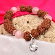 7 mukhi Rudraksha and Rose Quartz Bracelet - I (Sacred Heart)