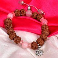 7 mukhi Rudraksha and Rose Quartz Bracelet - II (Sacred Heart)
