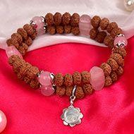 7 mukhi Rudraksha and Rose Quartz Bracelet - III (Sacred Heart)