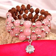 7 mukhi Rudraksha and Rose Quartz Bracelet (Sacred Heart)
