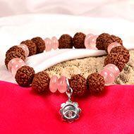 7 mukhi Rudraksha and Rose Quartz Bracelet - V (Sacred Heart)