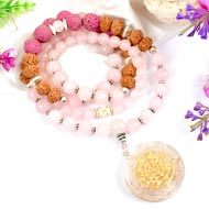 7 Mukhi Rudraksha and Rose Quartz Mala