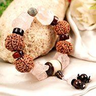 7 Mukhi and Rose Quartz gemstone bracelet (Sacred heart)