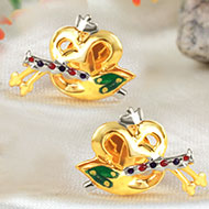 Gold Plated Ganesha with OM and Flute Earrings