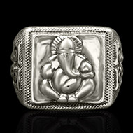 Ganesha Ring in Pure Silver - Design I