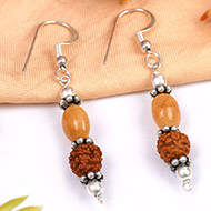 Yellow Sapphire and Rudraksha earring - Design II