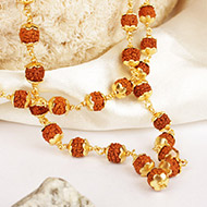 Rudraksha mala 6mm in gold polished copper caps