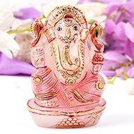 Exotic Ganesha Idol in Rose Quartz - 432 gms