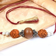 5 Mukhi Rakhi Sandalwood Beads with German silver accessories - I