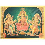Ganesh Lakshmi Saraswati Photo in Golden Sheet - Large II