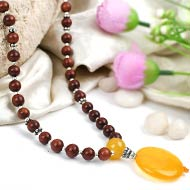Yellow Jade and Red Sandal Beads Mala